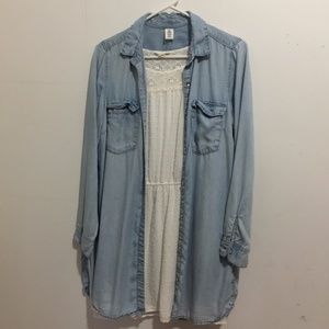 [H&M] Denim Long Button Up Jacket